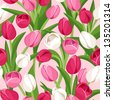 Seamless background with colored tulips. Vector illustration. - stock vector