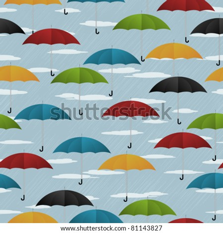 Seamless background with colored umbrellas