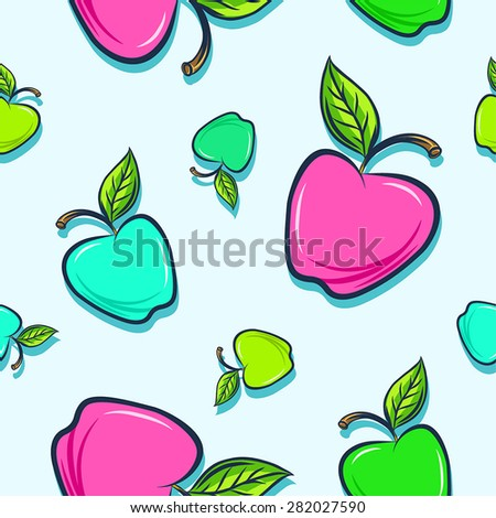 Seamless background with colorful appels - stock vector