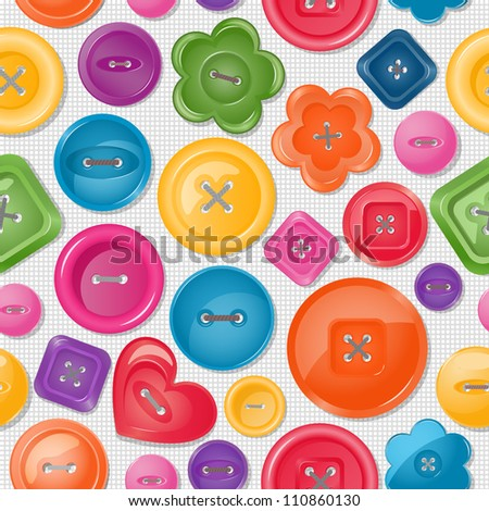 Seamless background with colorful buttons. EPS 10 vector illustration. - stock vector