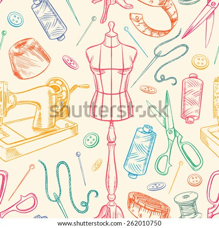 seamless background with colorful sketch tailoring equipment. mannequin, sewing, sewing machine. hand-drawn illustration - stock vector