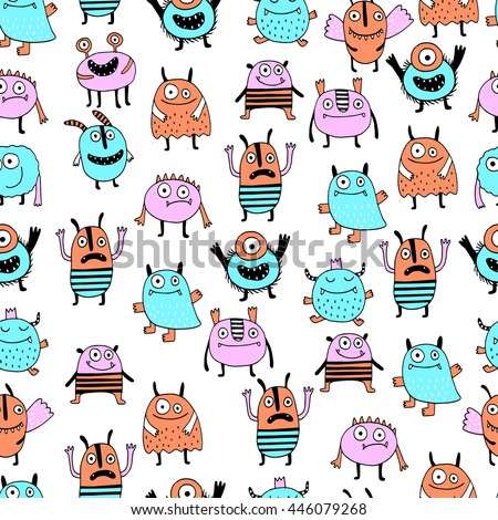 Seamless background with Colorful toy cute monster - stock vector