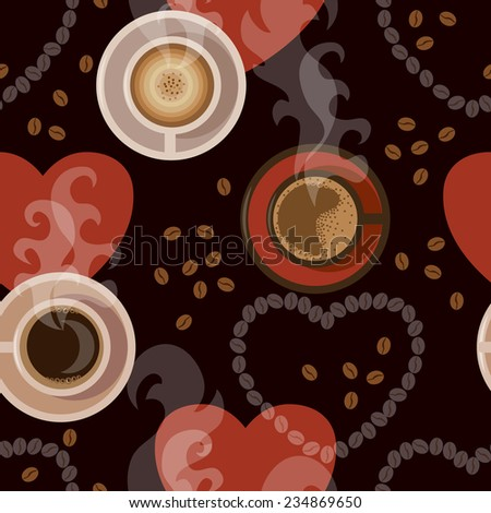 Seamless background with cups of coffee, coffee beans, steam  and hearts.  - stock vector