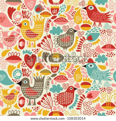 seamless background with cute birds - stock vector