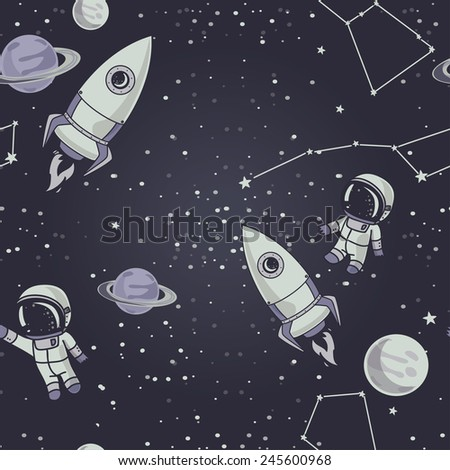 seamless background with cute doodle astronauts, planets, rockets and stars, vector illustration