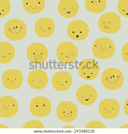 Seamless background with cute funny emoticons  - stock vector