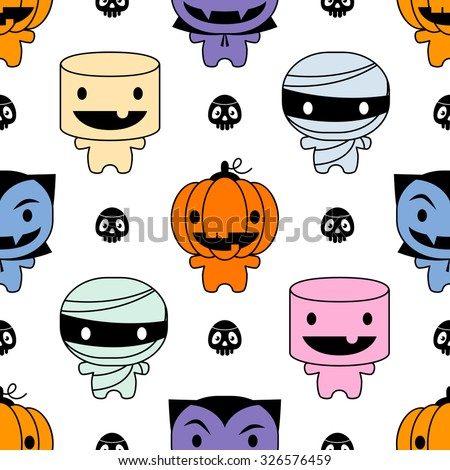 Seamless Background Cute Halloween Characters Stock Vector ...