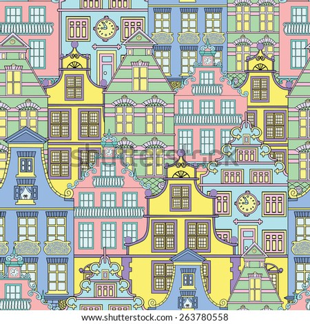 Seamless background with cute houses, decorated fronts of old buildings, hand drawn illustration - stock vector