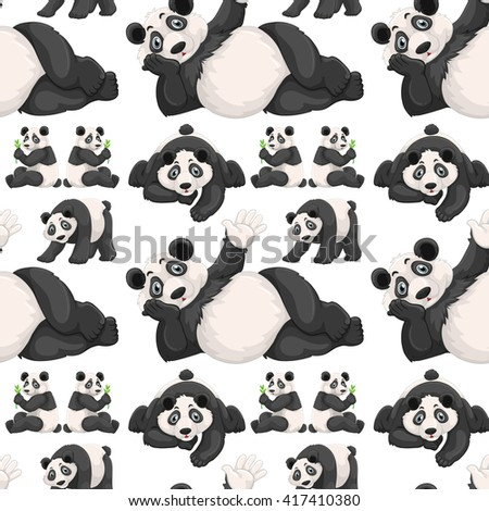Seamless background  with cute panda illustration
