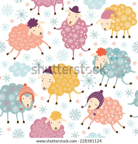 seamless background with cute sheeps  - stock vector