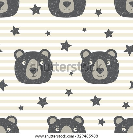 Seamless background with cute teddy bear in scratched style - stock vector