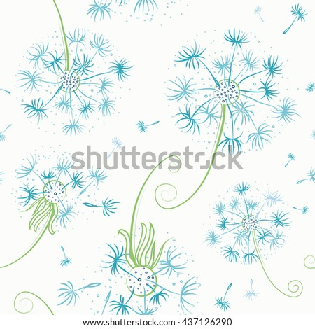 Seamless background with dandelions and seeds flying on white - stock vector