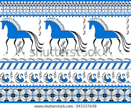 Seamless background with decorative elements of cosmogonic traditional folk art of northern region of Russia. Mezensky blue horse. Illustration, vector - stock vector