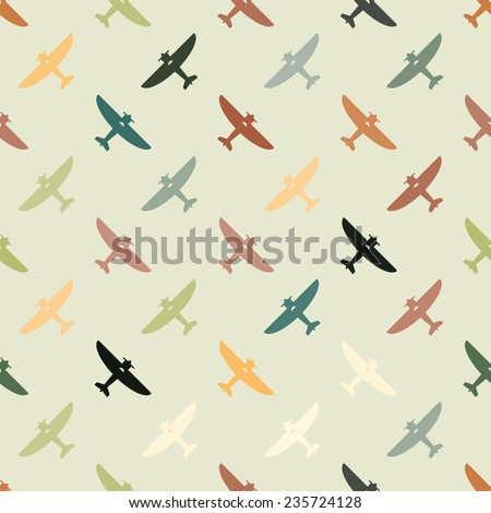 Seamless background with different airplanes - stock vector