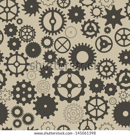 Seamless background with different gear wheels. Vector elements for desing.