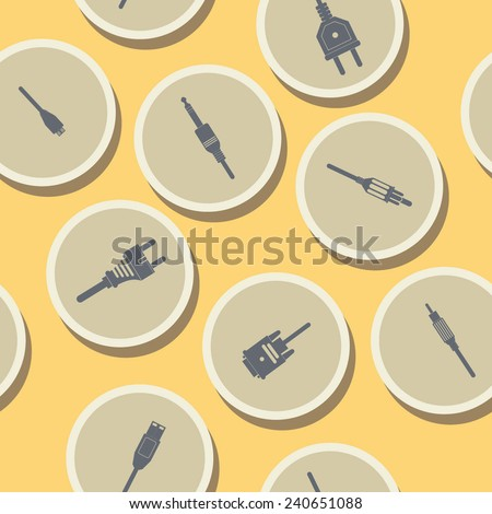 seamless background with different power cord plug  - stock vector