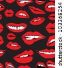 Seamless background with different red lips over dark, funny vector illustration - stock vector