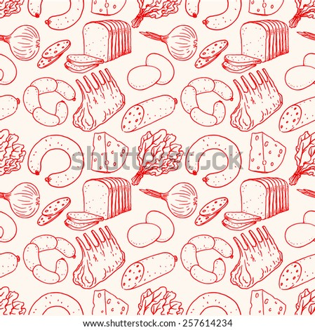Seamless background with different sketch food. meat, cheese, bread - stock vector
