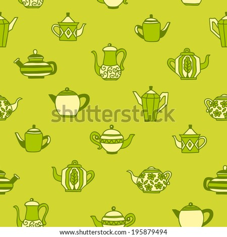 Seamless background with different teapots in green tone.