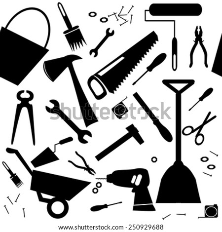 Seamless background with DIY or home repair tools - stock vector