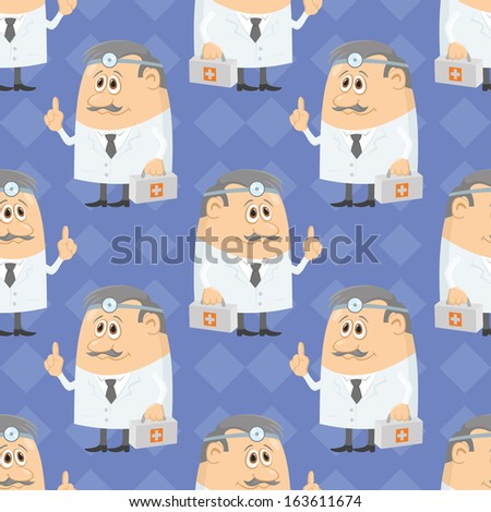 Seamless background with doctors with first-aid kits and head mirrors, cartoon characters on blue abstract pattern. Vector - stock vector