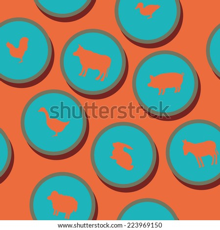 seamless background with domestic animals - stock vector