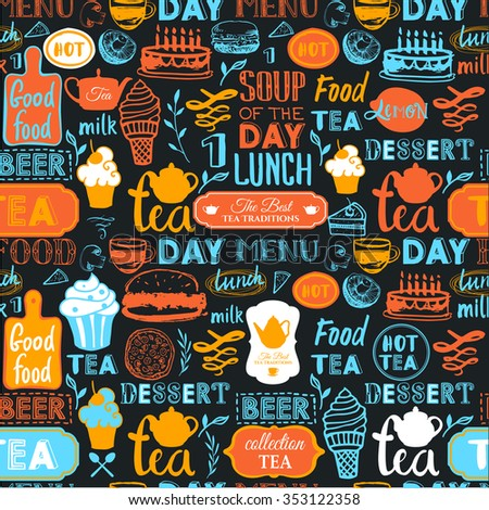 Seamless background with drink and food symbols. Menu pattern. Vector Illustration with funny food lettering and labels on white background. Decorative elements for your packing design. Multicolor. - stock vector