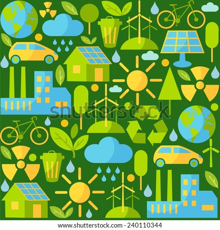 Seamless background with ecology icons. Simple multicolor seamless background with many icons on ecology theme  - stock vector