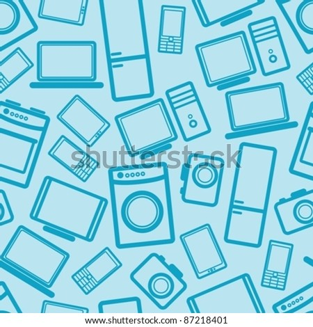 seamless background with electronic devices - stock vector