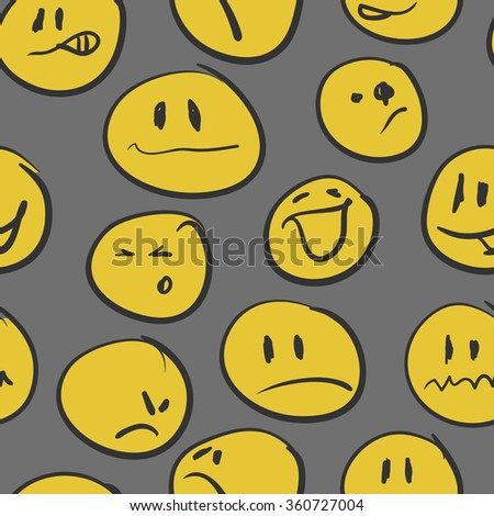 Seamless background with emoticons. Vector illustration. - stock vector