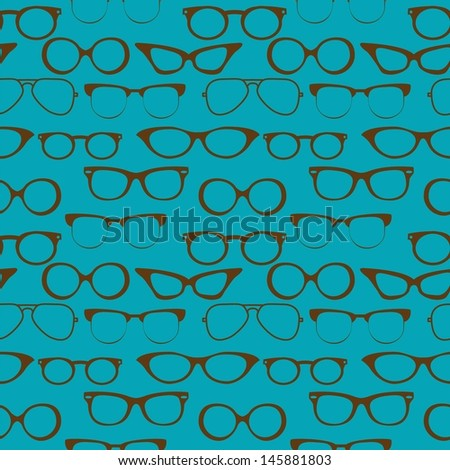 Seamless background with eyeglasses, Retro fashion pattern, VECTOR