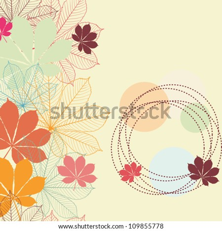 Seamless background with falling autumn leaves in a retro style.