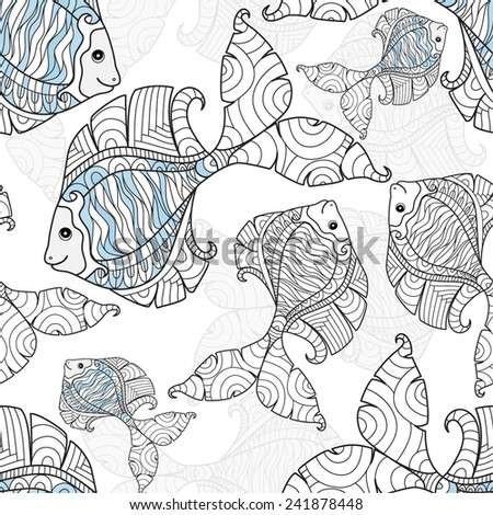 Seamless background with fantastic fish. Fish swim and laugh - stock vector