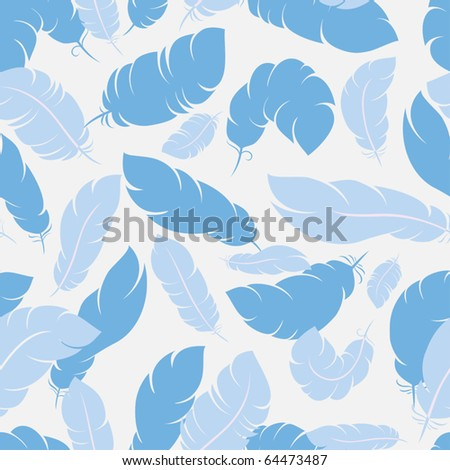 Seamless background with feathers in three colors themes - stock vector