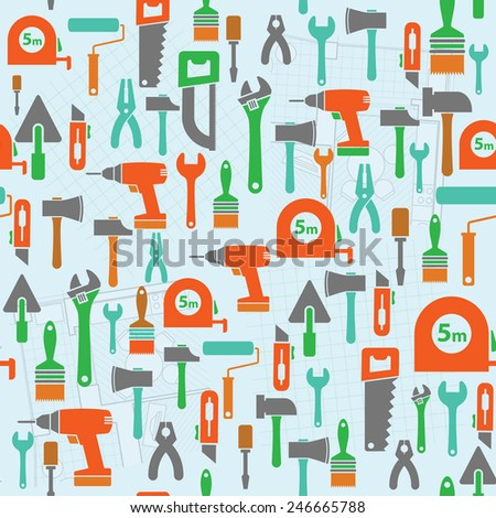 Seamless background with flat working tools icons and parts of detailed architectural plan. Template for the manufacture wrapping paper, web design. - stock vector