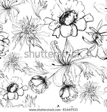 Seamless background with flowers - stock vector