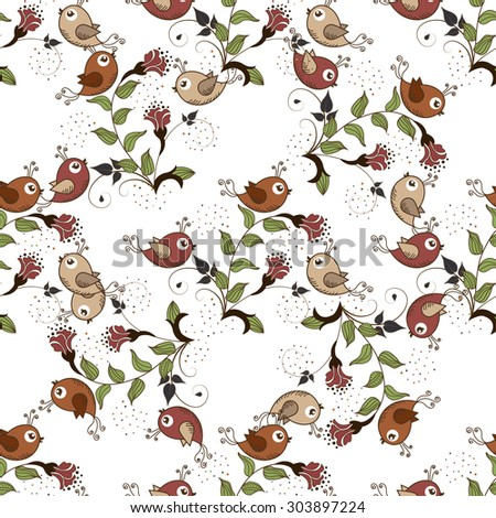 Seamless background with flowers and birds on a white background - stock vector