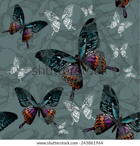 Seamless background with flowers and colorful butterflies, hand-drawing. Vector illustration..eps