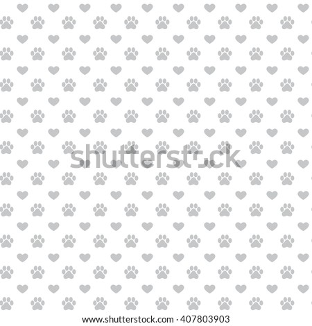 seamless background with footprint of cat and dog pattern of animal paw print grey color