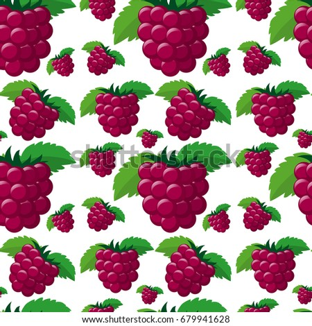 Seamless background with fresh raspberries illustration