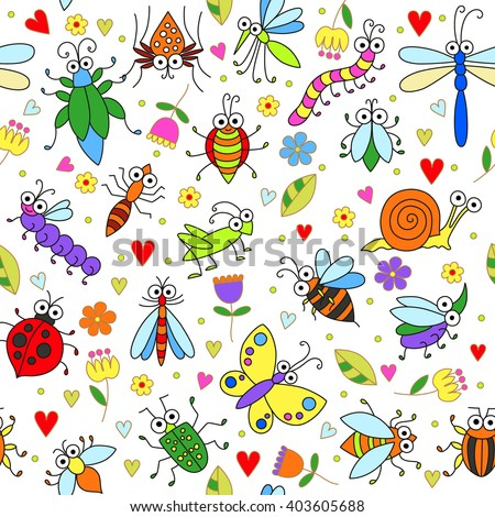 Seamless background with funny cartoon insects. Cute fly, butterfly, dragonfly, snail, beetle, caterpillar, ant, spider, ladybug, grasshopper, bee, mosquito. Childish illustration  in cartoon style. - stock vector
