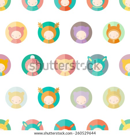 Seamless background with funny characters dressed as animals. Kids illustration in vector - stock vector