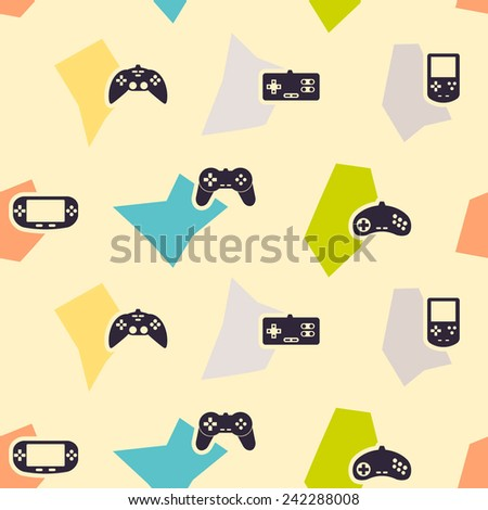 seamless background with game consoles for your design  - stock vector