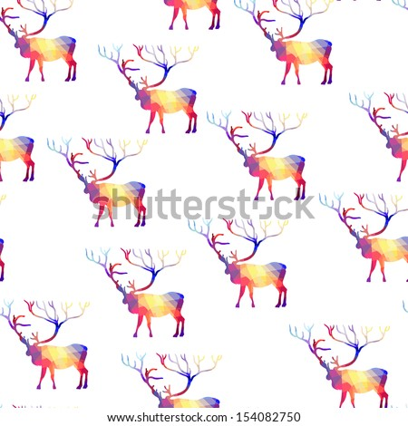 Seamless background with geometric deer - stock vector