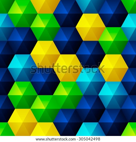 Seamless background with glossy relief bright hexagons - stock vector