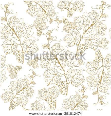 Seamless background with golden grapes. Vector illustration. Vintage style - stock vector