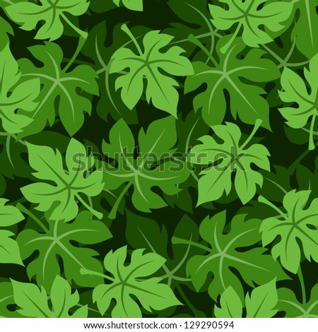 Seamless background with grape leaves. Vector illustration. - stock vector