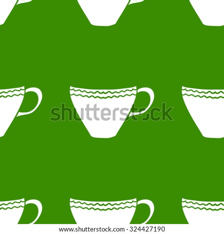 Seamless background with green tea cups, vector illustration.  - stock vector