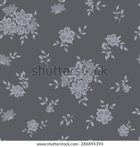 Seamless background with grey roses - stock vector