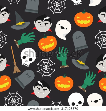 Seamless background with halloween pattern - stock vector